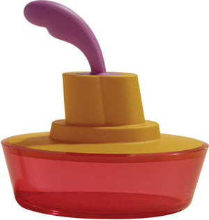 Alessi, Ship Shape container with small spatula / spreader - multiple colors, Orange- Placewares