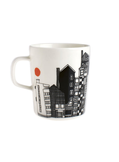 Marimekko, Siirtolapuutarha Mug, White/Black/Orange- Placewares
