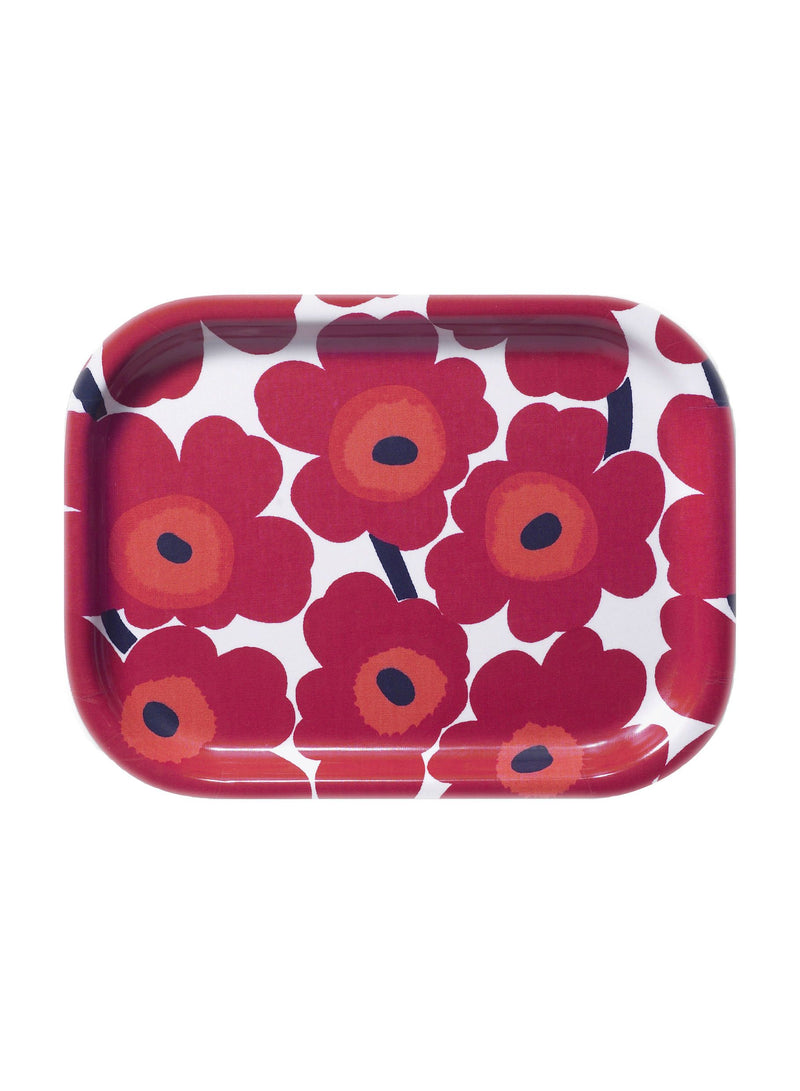 Marimekko, Mini Unikko Plywood Tray, White/Red- Placewares