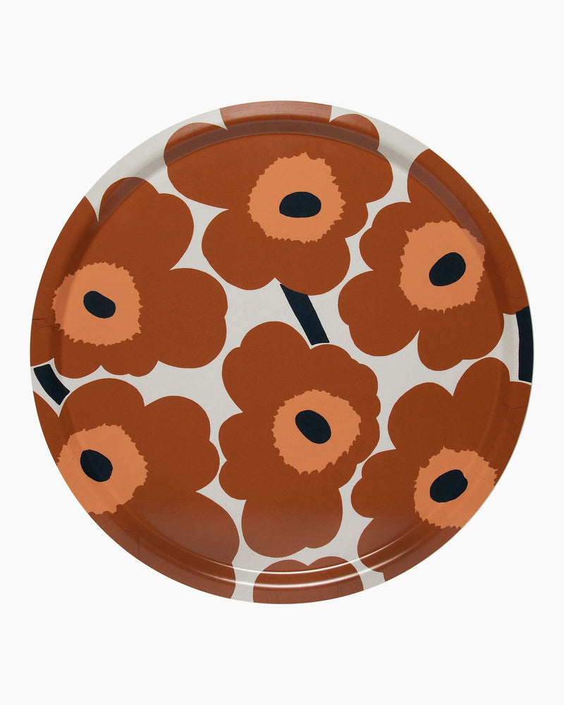 Marimekko, Pieni Unikko  Plywood Tray, White/ Chestnut/ Melon/ Navy Blue / One size- Placewares