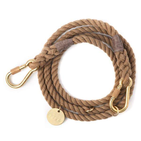 Found My Animal, Found My Animal - Adjustable Dark Tan Rope Dog Leash, Large- Placewares
