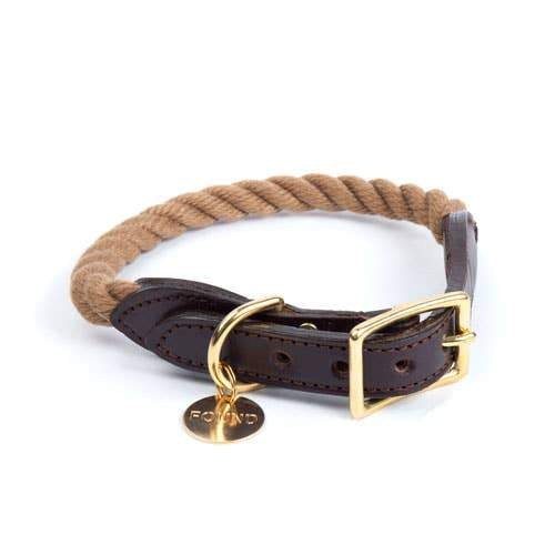 Found My Animal, Found My Animal - Dark Tan Rope & Leather Cat & Dog Collar, Extra Large- Placewares