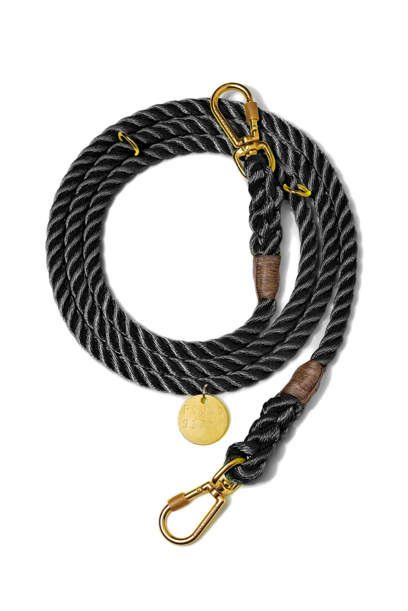 Found My Animal, Found My Animal - Adjustable Black Rope Dog Leash, Medium- Placewares