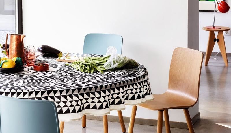 Vitra, Black Geometric Tablecloth, - Placewares