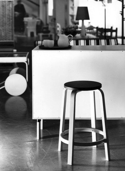 Artek, Bar Stool 64, Counter-Height - Black Lacquered Seat & Legs, - Placewares