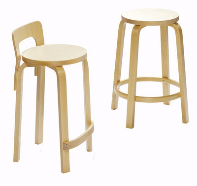 Artek, Bar Stool 64, Counter Height - Seat White Laminate White, Legs Natural Lacquered, - Placewares