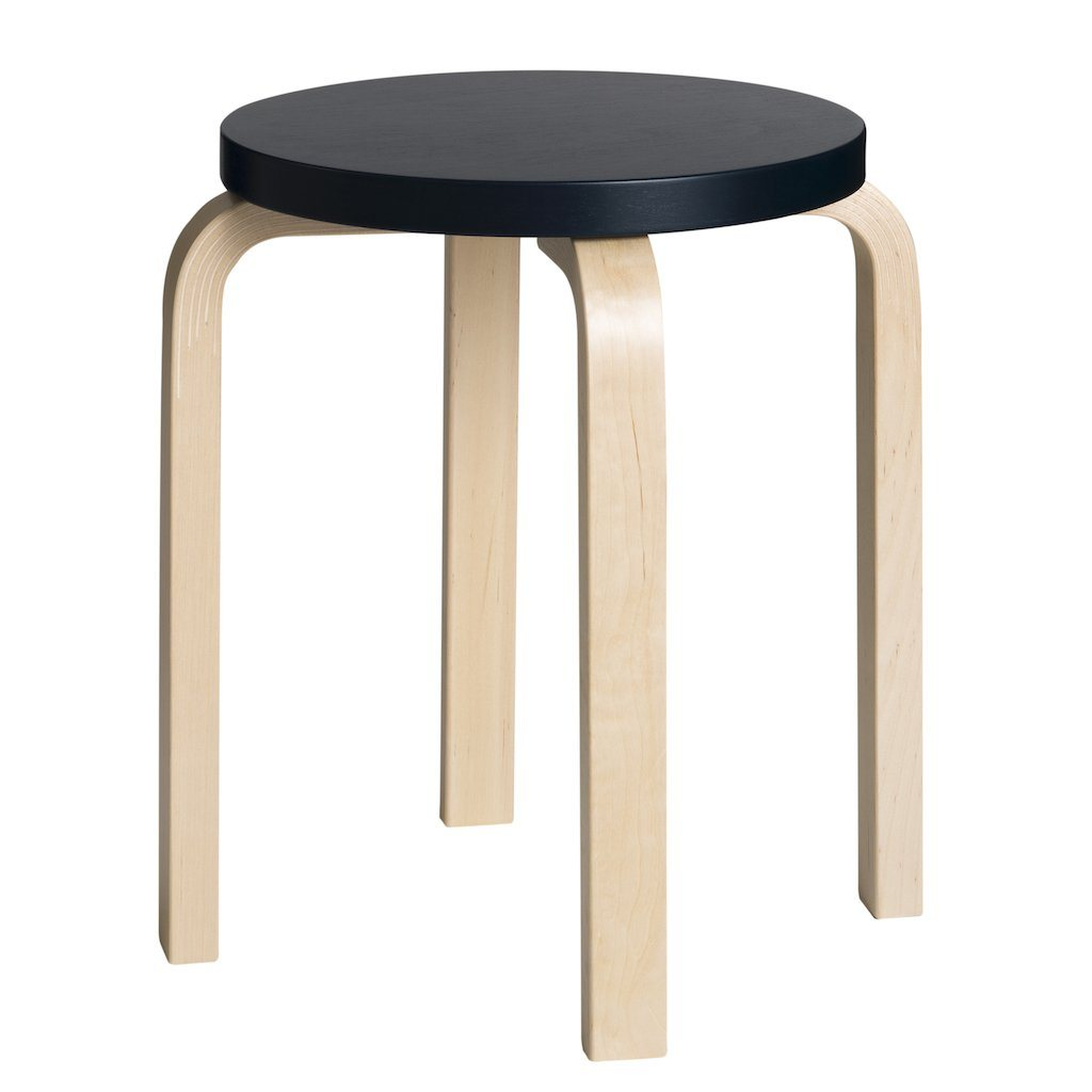 Artek, E60 Stool Lacquered Black Seat, - Placewares