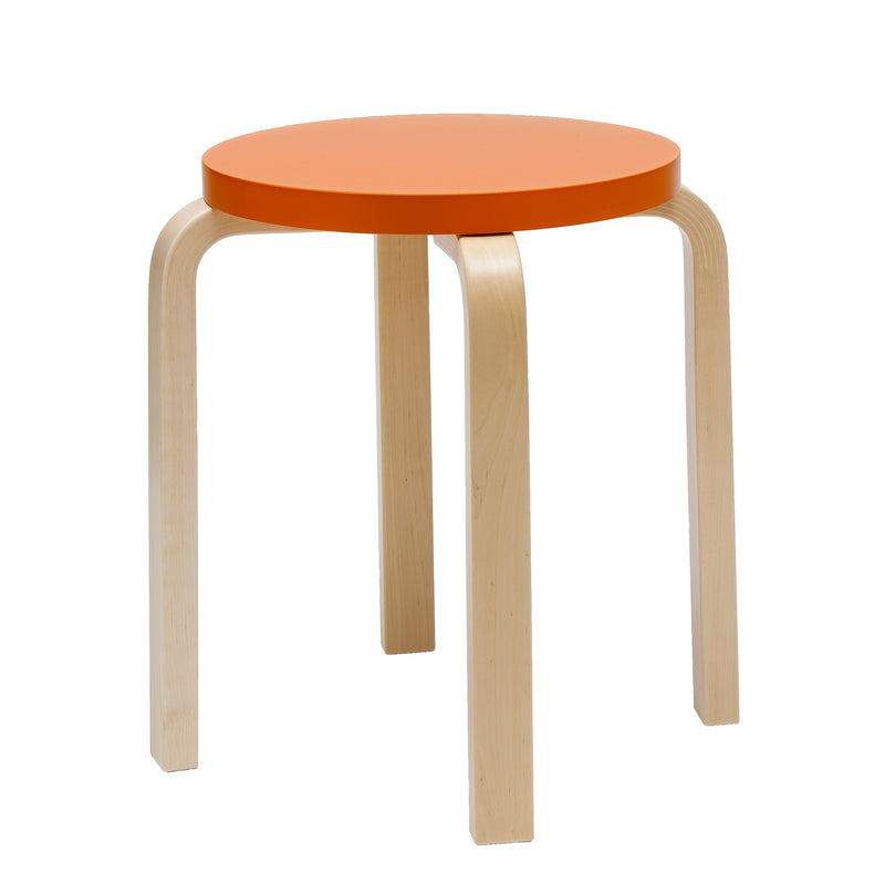 Artek, E60 Stool Lacquered Orange Seat, - Placewares