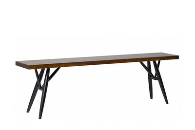 "Artek, Pirkka Bench, assorted sizes, 2-3 Seater - L 59"" / Frame black stained - seat brown stained- Placewares"