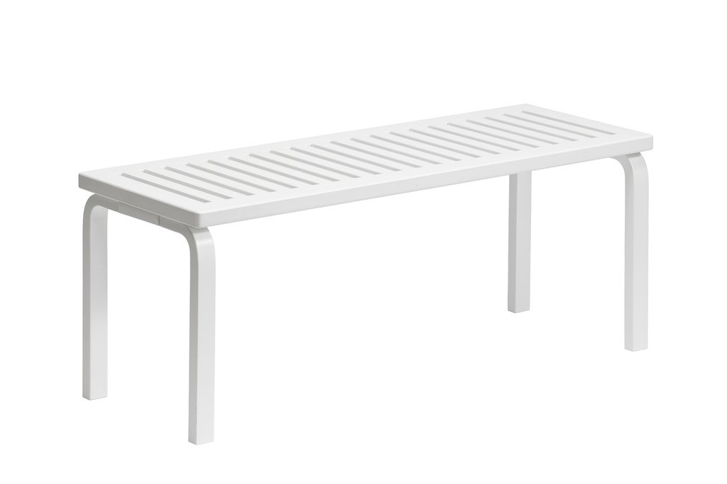 "Artek, Bench 153A - White Lacquered Seat & Legs, Legs and seat white lacquered / L 44 ¼""- Placewares"