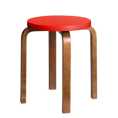 Artek, Stool E60 - Seat Red Lacquered, Legs Walnut Stained, Legs walnut stained - seat bright red lacquered- Placewares