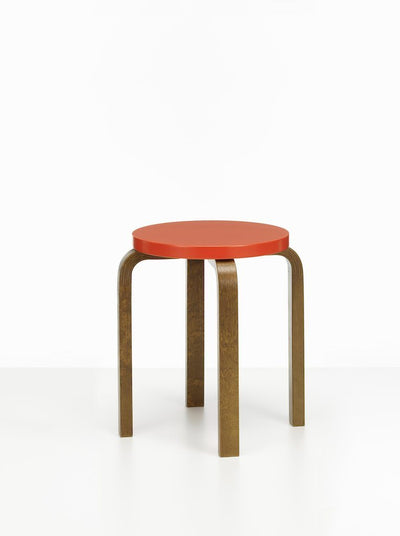 Artek, Stool E60 - Seat Red Lacquered, Legs Walnut Stained, - Placewares