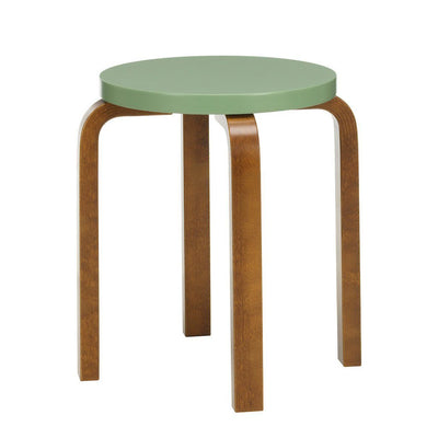 Artek, Stool E60 - Seat Green Lacquered, Legs Walnut Stained, Legs walnut stained - seat pale green lacquered- Placewares