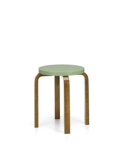Artek, Stool E60 - Seat Green Lacquered, Legs Walnut Stained, - Placewares