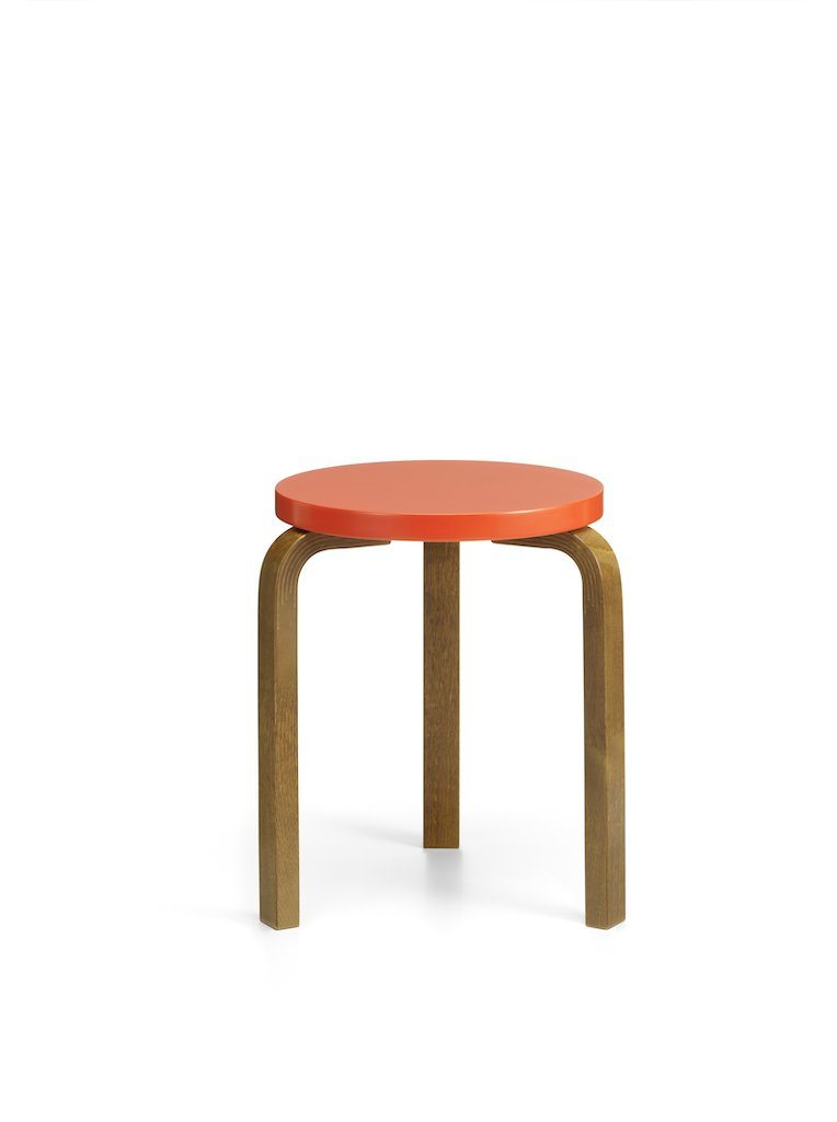 Artek, 60 Stool, Legs Walnut Stain, Lacquered Bright Red, - Placewares