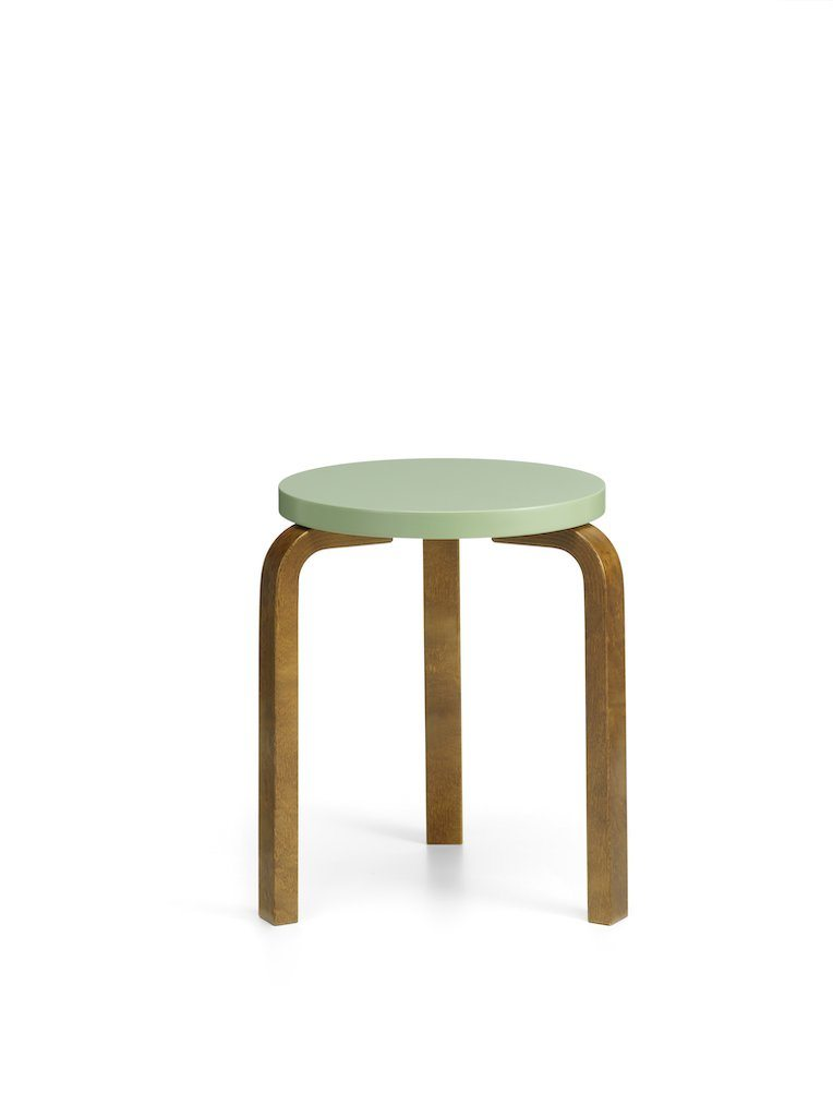Artek, 60 Stool, Legs Walnut Stain, Seat Lacquered Pale Green, - Placewares