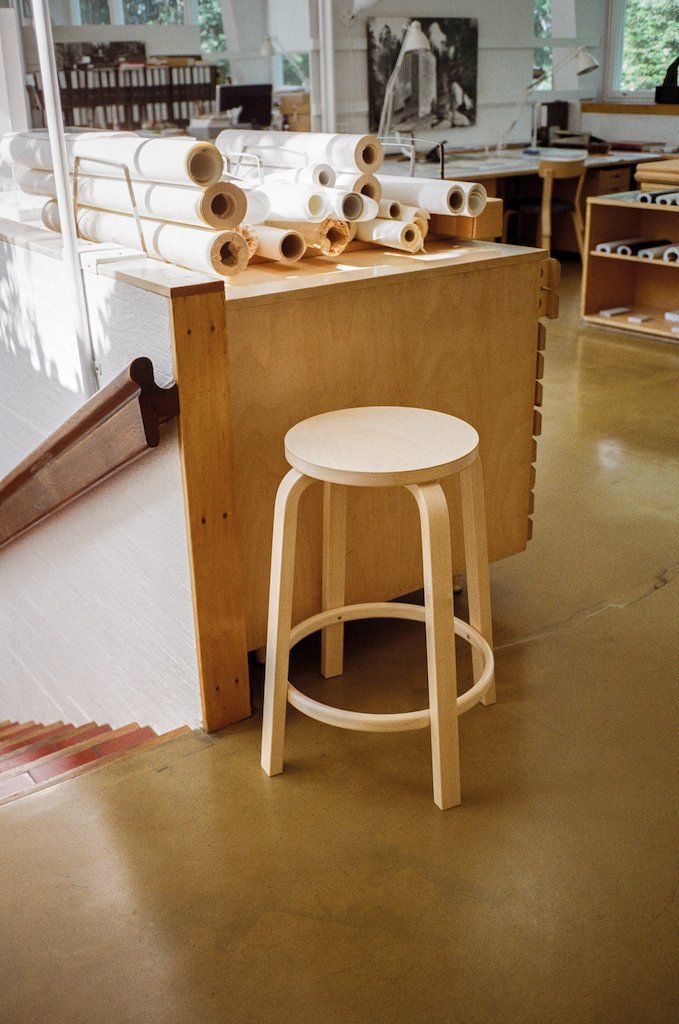 Artek, Bar Stool 64 Birch Veneer, Counter-Height, - Placewares