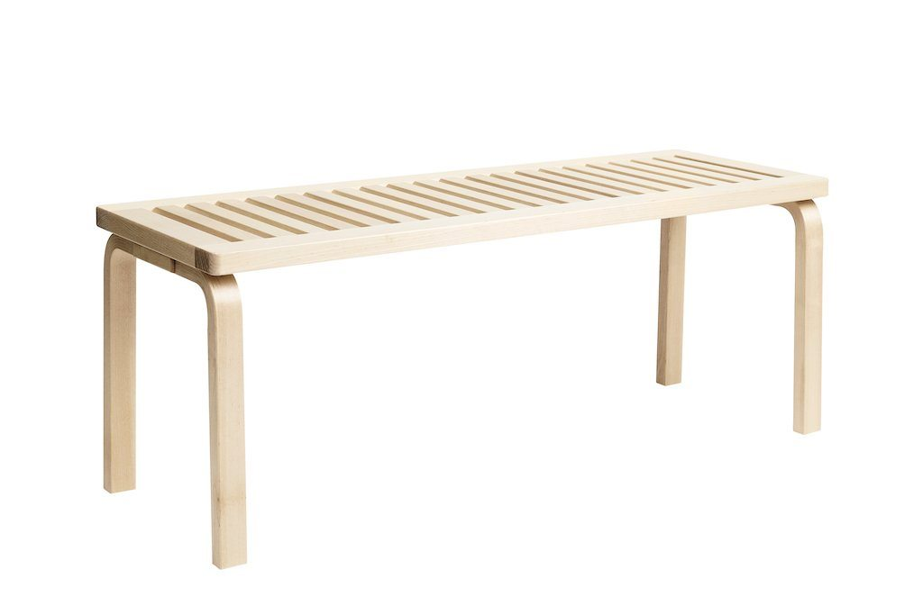 "Artek, Bench 153A - Natural Lacquered Seat & Legs, Legs and seat natural lacquered / L 44 ¼""- Placewares"
