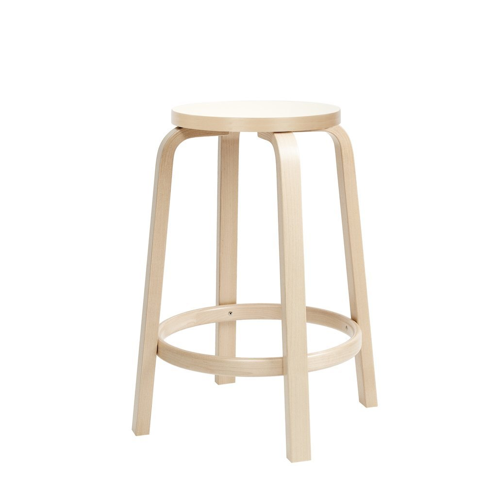 Artek, Bar Stool 64 Laminate White, Counter-Height, - Placewares