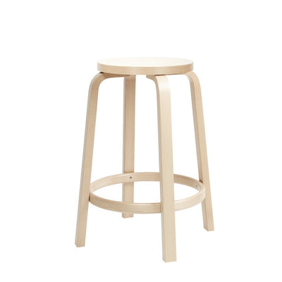 "Artek, Bar Stool 64, Counter Height - Seat White Laminate White, Legs Natural Lacquered, Legs Natural Lacquered - Seat IKI White HPL / H 25 ½""- Placewares"
