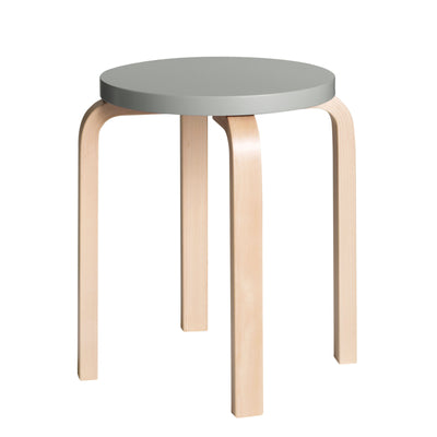 Artek, Stool E60 - Seat Grey Lacquered, Legs Natural Lacquered, Legs natural lacquered - seat grey lacquered- Placewares