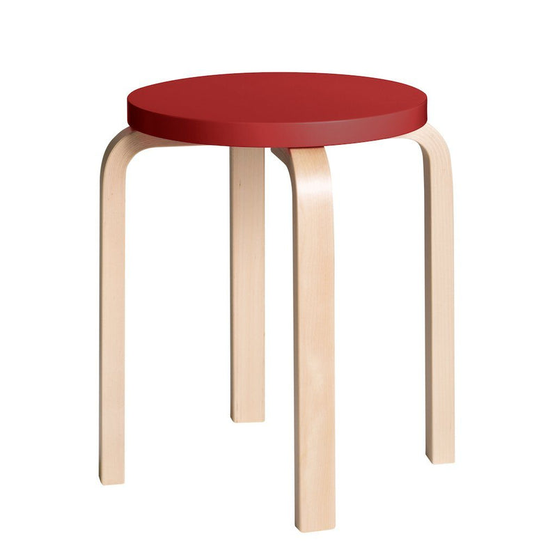 Artek, E60 Stool Lacquered Red Seat, - Placewares
