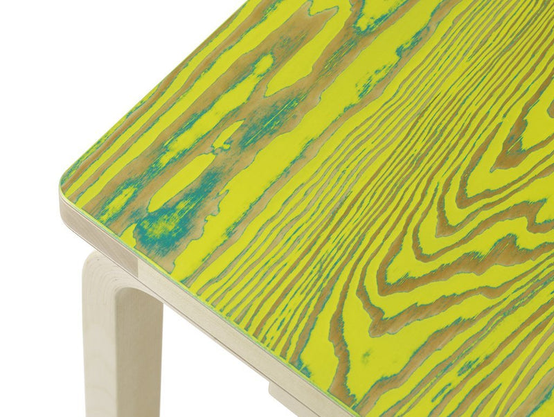 "Artek, Bench 153B - Seat Green/Yellow ColoRing, Legs Natural Lacquered, Legs natural lacquered - seat green/yellow ColoRing / L 28 ½""- Placewares"