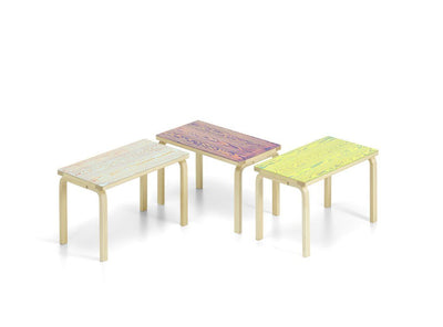 Artek, Bench 153B - Seat Green/Yellow ColoRing, Legs Natural Lacquered, - Placewares