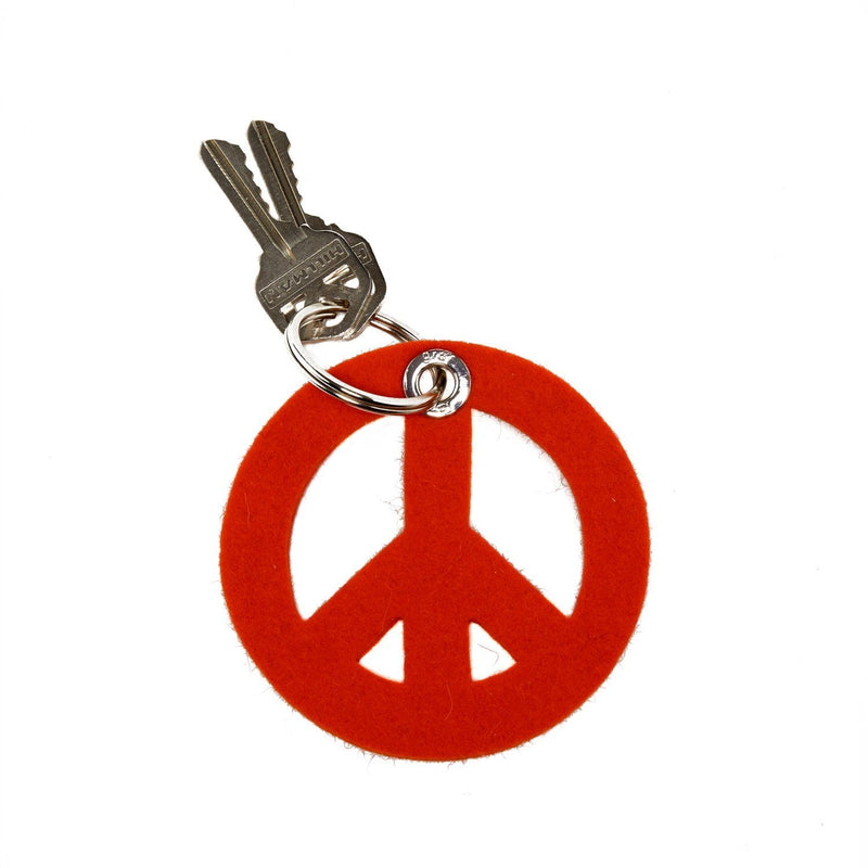 Graf Lantz, Peace Sign Felt Key Fob, Orange- Placewares