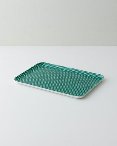 Fog Linen, Japanese Linen  Coated Tray, green & white check - assorted sizes, - Placewares
