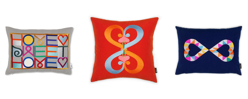 Vitra, Double Heart 2, blue, Embroidered Pillow, - Placewares
