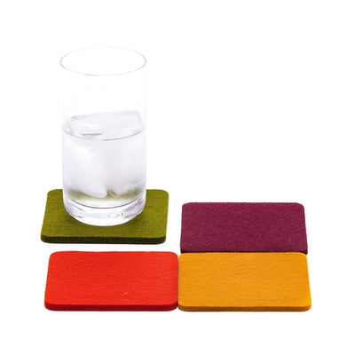 Graf Lantz, Bierfilzl Square Multi Color Felt Coasters, 4-pack, Spice- Placewares