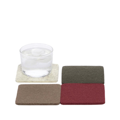 Graf Lantz, Bierfilzl Square Multi Color Felt Coasters, 4-pack, Terra- Placewares