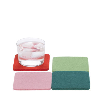 Graf Lantz, Bierfilzl Square Multi Color Felt Coasters, 4-pack, Happy- Placewares