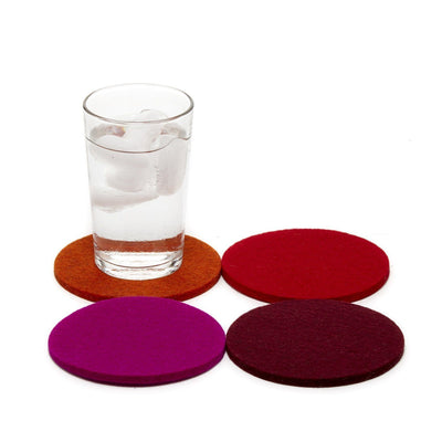 Graf Lantz, Bierfilzl Round Multi Color Felt Coasters, 4-pack, Bordeaux- Placewares