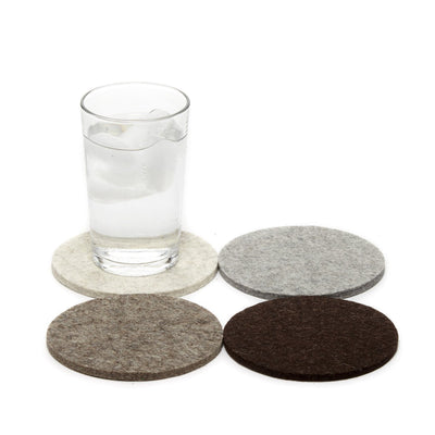 Graf Lantz, Bierfilzl Round Multi Color Felt Coasters, 4-pack, Earth- Placewares