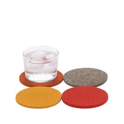 Graf Lantz, Bierfilzl Round Multi Color Felt Coasters, 4-pack, Flame- Placewares