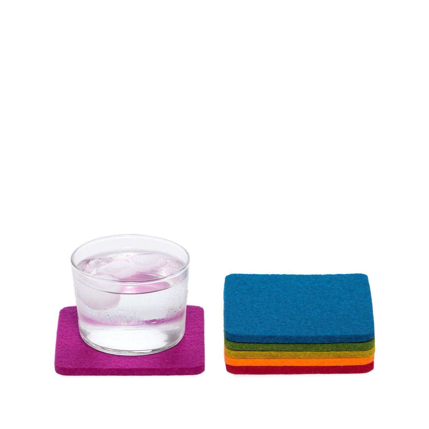 Graf Lantz, Bierfilzl Square Multi Color Felt Coasters, 6-pack, Rainbow- Placewares