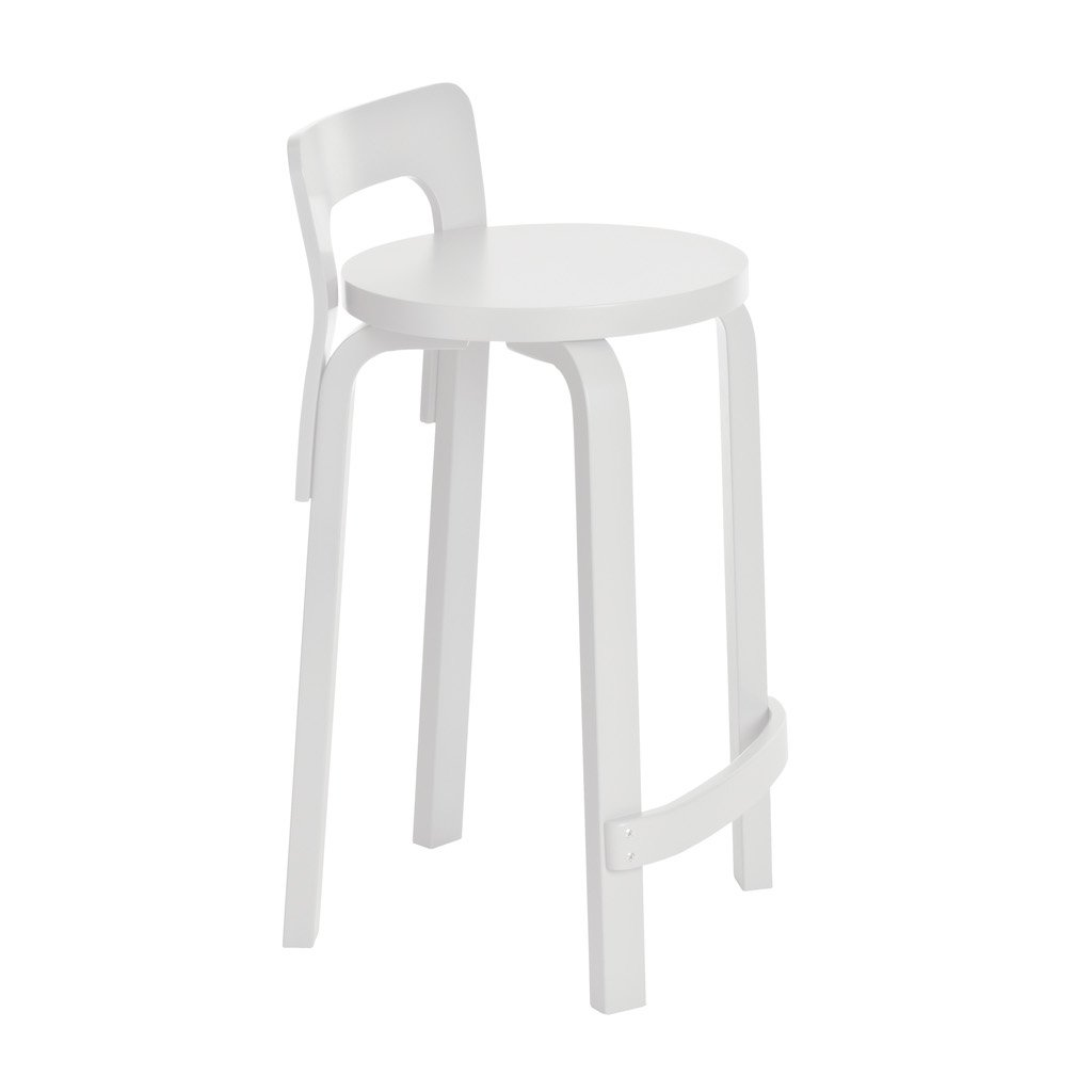 Artek, High Chair K65 - White Lacquered Seat, Legs/Backrest, Legs and backrest white lacquered - seat white lacquered- Placewares