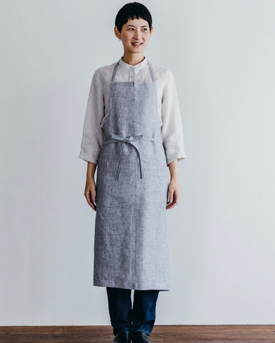 Fog Linen, Linen Full Apron, Grey Thin White Stripe- Placewares
