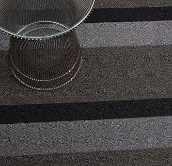 Chilewich, Bold Stripe Shag Big Mat - multiple colors, Silver/Black- Placewares