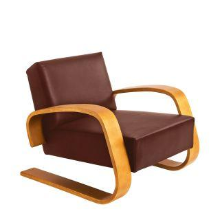 Artek, Armchair 400 Tank, Frame: birch, honey stain Seat and back: leather upholstery, sörensen indian red- Placewares