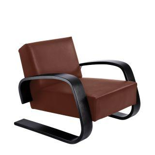 Artek, Armchair 400 Tank, Frame: birch, black lacquer Seat and back: leather upholstery, sörensen indian red- Placewares