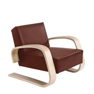 Artek, Armchair 400 Tank, Frame: birch, clear lacquer Seat and back: leather upholstery, sörensen indian red- Placewares