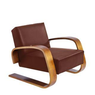 Artek, Armchair 400 Tank, Frame: birch, walnut stain Seat and back: leather upholstery, sörensen indian red- Placewares