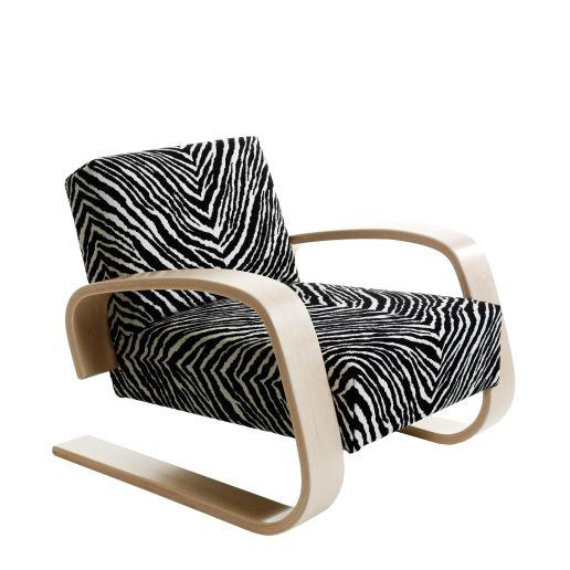 "Artek, Armchair 400 Tank, Armchair 400 ""Tank"" Frame: birch, clear lacquer Seat and back: fabric upholstery, zebra- Placewares"