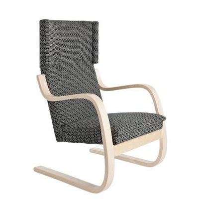 Artek, Copy of Armchair 401 Alvar Aalto, Frame: birch, clear lacquer Seat, front and back: fabric upholstery, H55 / Natural Lacquered- Placewares