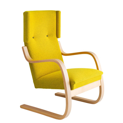 Artek, Copy of Armchair 401 Alvar Aalto, Frame: birch, clear lacquer Seat, front and back: fabric upholstery, yellow / Natural Lacquered- Placewares