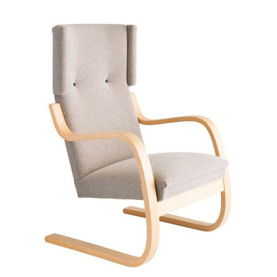 Artek, Copy of Armchair 401 Alvar Aalto, Frame: birch, clear lacquer Seat, front and back: fabric upholstery, grey / Natural Lacquered- Placewares