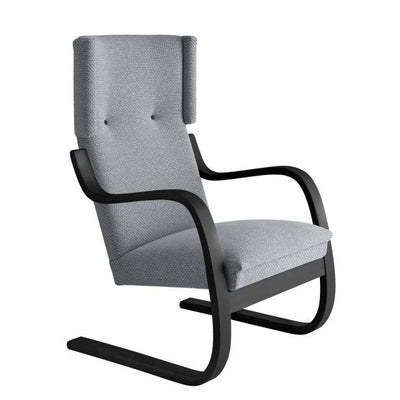 Artek, Copy of Armchair 401 Alvar Aalto, Frame: birch, black lacquer Seat, front and back: fabric upholstery, kvadrat tonus 4 / 216 / Black Lacquered- Placewares